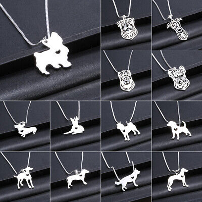 Fashion Gold Silver Heart Dog Chain Pet Pendant Necklace Women Jewelry Charms
