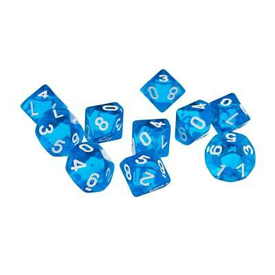 10Pcs Blue Sided RPG Games Dragons & Dungeons Transparent Polyhedral Dice