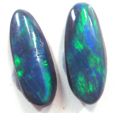 #28 Australian Solid Natural Black Opal Stones For Opal Earring Set 1.165cts