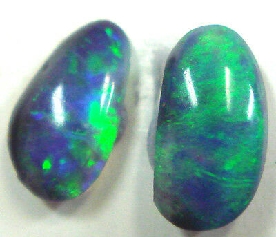 #29 Australian Solid Natural Black Opal Stones For Opal Earring Set 0.650 cts