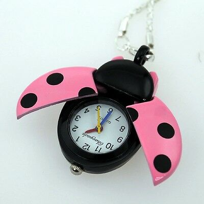 Children's Ladybird Pocket Pendant Watch Necklace