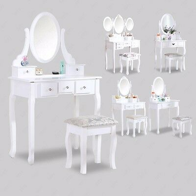New White Dressing Table Makeup Desk With Stool Drawers and Oval Mirror Bedroom