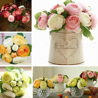 9 Head Peony Artificial Silk Flower Wedding Bouquet Bridal Party Home Decor