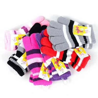 Children Girls Boys Kids Magic Elastic Knitted Gloves Mittens Winter Warmer New