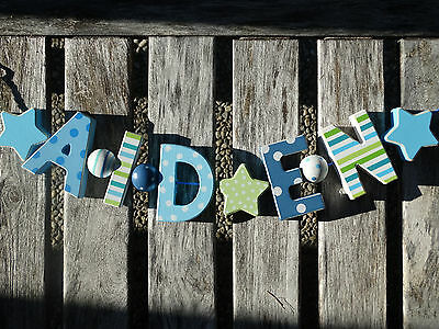 """""""aiden"""" Wooden Letters Letter Door Name Baby Shower Decoration  Shabby Chic"""