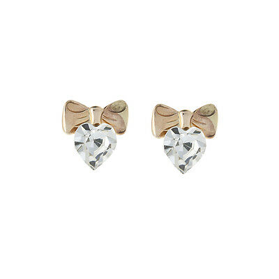 9ct Yellow Gold bow Crystal heart stud earrings / Gift box