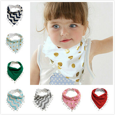 Baby Infant Girls Boy Kids Tassel Saliva Towel Bandana Triangle Bibs Head Scarf