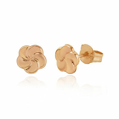 9ct Rose Gold small swirl flower stud earrings / Gift box
