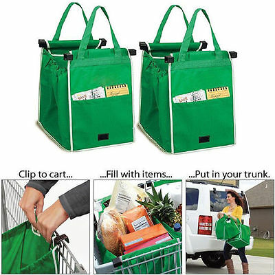 Foldable Reusable Grocery Large Trolley Clip-To-Cart Supermarket Shopping Bags W