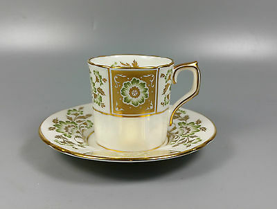 Royal Crown Derby Green Derby Panel A1237 Coffee Can And Saucer (Perfect)