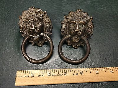 PR Fine Detailed  Vintage Brass Lion Head  Drawer Pulls Architectural Hardware