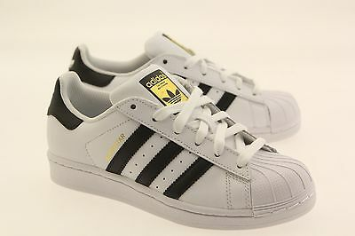 Authentic New Adidas Originals Big Kids Boys GS Superstar White Black  C77154