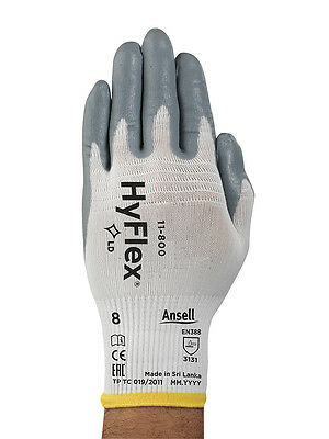 Ansell 11-800 Hyflex Nitrile Palm Coated Gloves Size 8-Med 12 Pr/1 DZ  Free Ship