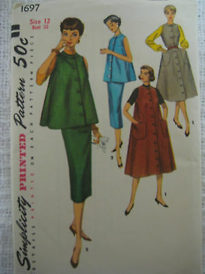 2f12dc2cbfa84 VINTAGE LOT OF Simplicity 50's MATERNITY PLEATED TOP DRESS Sewing ...