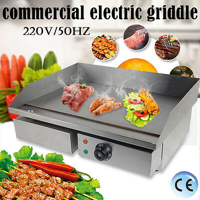New Commercial Stainless Steel Electric Griddle Counter Top Flat Hotplate 55CM