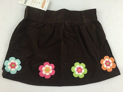 Gymboree Corduroy Skirt Size 2T Brown Colored Flowers Elastic Waist Girls New