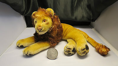 Steiff Lion EAR BUTTON No Tag Stuffed Vintage Animal Toy 1950's Germany