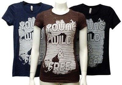 Next Level Wholesale Lot 24 Juniors' Burnout Crew neck Printed Young WILD FREE T