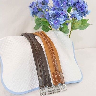 Beval LTD Fancy Stitched Leather Girth -Cognac or Havana Brown- Diff Sizes SALE!