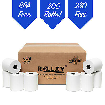 "3-1/8"" x 230' Thermal Paper 200 Rolls for POS and Cash Register FREE SHIPPING"