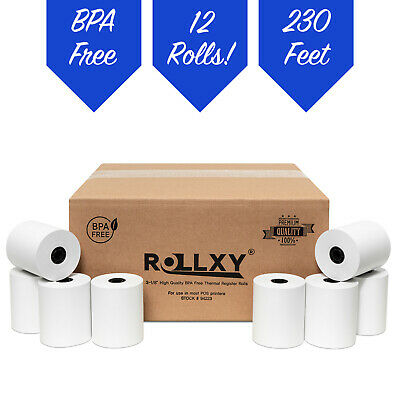 "CLOVER PoS 3-1/8"" x 230' THERMAL RECEIPT PAPER - 12 NEW ROLLS *FREE SHIPPING*"
