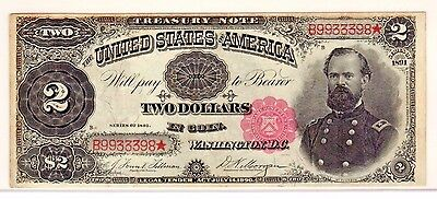 Fr. 357 1891 $2 Treasury Note US Currency Paper Money Bill Note