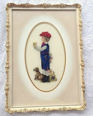 Boy with Dog Petit Point - Professionally framed/matted/under glass (848)