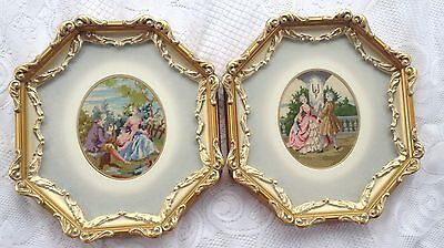 STUNNING! 2 Elegant Petit Point -  Victorian Theme - Gold Antique Frame/mat 849
