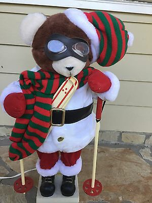Vintage Animated Telco MOTION-ette Christmas Ski Bear With Goggles