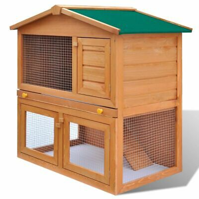 #bNew Outdoor Rabbit Hutch Small Animal House Pet Cage Carrier Coop 3 Doors Wood