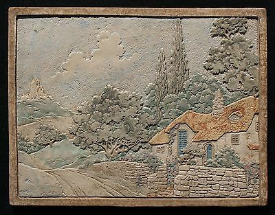 "Vintage 1920-30's Claycraft Lg 16"" x 12 3/4"" Thatched Roof Cottage Scenic Tile"