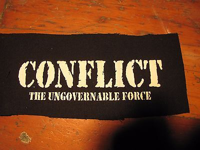 Conflict Screen printed thick canvas crust patch punk hardcore grind anarchy