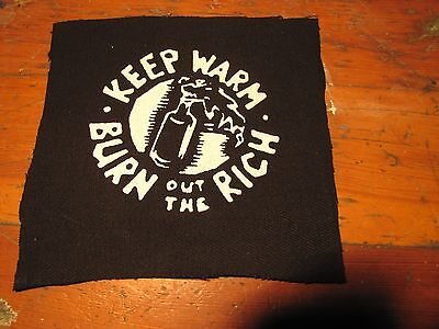 Burn out the rich Screen printed thick canvas crust patch punk hardcore anarchy