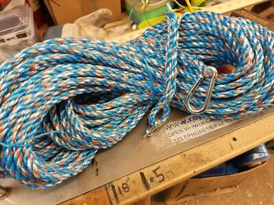 100FT  NEW 10mm ROPE ANCHOR BOAT MOORING WITH SNAP HOOK & SHACKLE c