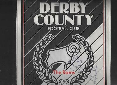 DERBY COUNTY Signed Large Pennant late 80's FREE POST UK