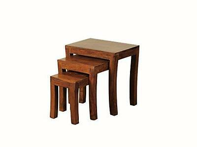 Sheesham Contemporary Nest of Tables Set of 3- Solidwood Nesting Tables