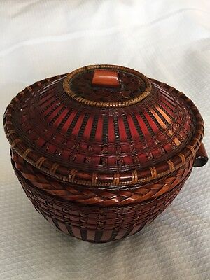 Vintage Antique Asian Chinese Rattan Bamboo Fish Wedding Basket Oriental Stitch