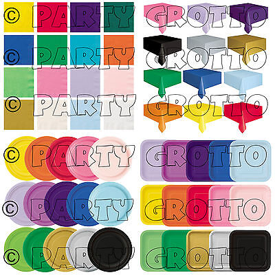 Plain Disposable Solid Colours Party TABLEWARE Events Catering Wedding Birthday