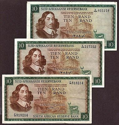 "S Africa ""1966 ND Issue"" (1966-75) p3 A/E 10-Rand VF/VF+ {pakimProPAK}: VA125a.3"