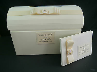 Wedding post box & guest book decorated with ivory ribbon and satin flower