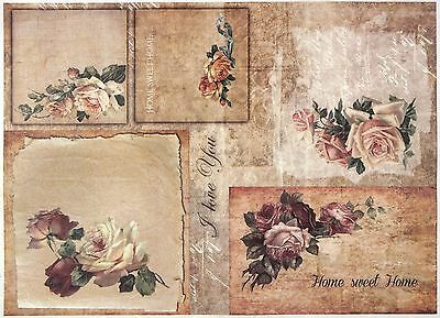 Rice Paper for Decoupage Decopatch Scrapbook Craft Sheet A/3 Vintage Roses Home