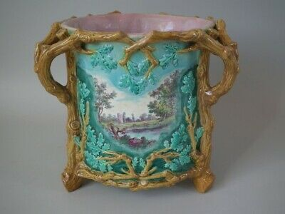 Royal Worcester Majolica pictorial planter