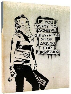 "BANKSY CANVAS WALL ART PICTURE PRINT Achieve Greatness Quote , LARGE 20x30"" 1108"