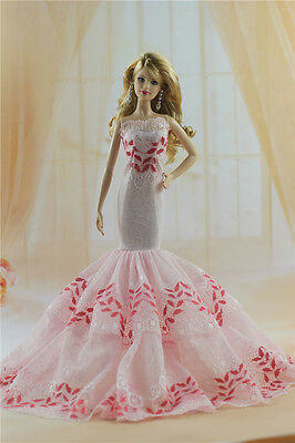 Fashion Handmade Princess Dress Wedding Clothes Gown for Barbie Doll b54
