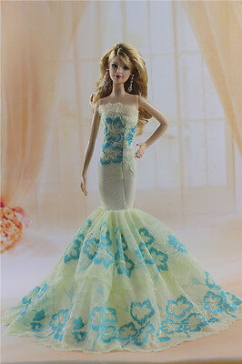Fashion Handmade Princess Dress Wedding Clothes Gown for Barbie Doll b58