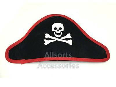 Black Pirate Hat with Skull and Crossbone Elasticated Headband