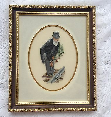 """""""The Last Spike"""" Canadian Railway Petit Point Professionally matted/Framed (859)"""