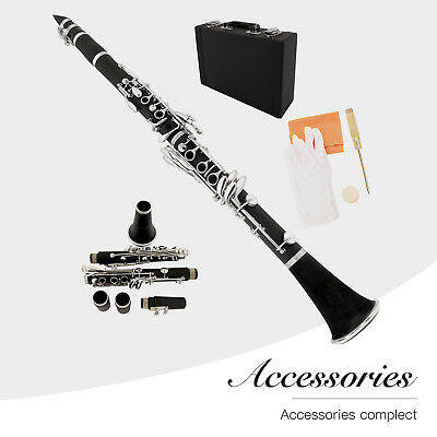Profession​al School Band Bb Clarinet with Case + Care Kit for Beginner Black
