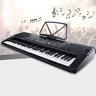 61 Key Electronic Keyboard Electric Organ Digital Music Piano w/Microphone Black
