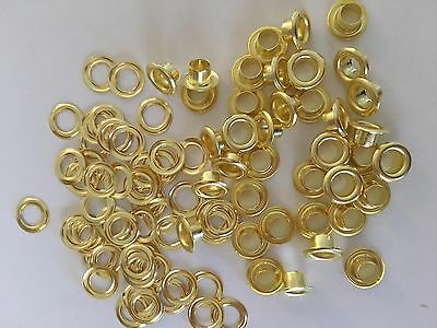 "100 #00 ( 11/64"" )  Solid Brass Self Piercing Grommets & Washers 100 Pair"